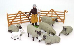 BRITAINS HERALD FARM SET - SHEEP, SHEPHERD ETC ETC - 1960 - 10 PIECES