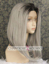 Short Bob Ombre Grey Synthetic Hair Lace Front Wigs For Women Heat Resistant UK
