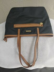 Michael Kors Shoulder Bag Large, Top Zip, Black Nylon, Brown Leather Trim