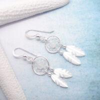 Mondstein weiß Traumfänger Indianer Ohrringe Ohrhänger 925 Sterling Silber neu
