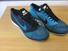 Nike Flyknit Racer Negro/Azul para Hombre Peso ligero Zapatilla Zapato UK 7.5 EU 42 bnob