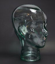 New Glass Mannequin Head Face Display, Clear - Life Size Hand Made Spain