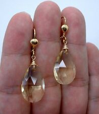 Pretty Faceted Citrine Quartz Briolette Gold Earrings  A0425