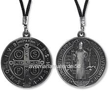 "Saint Benedict Medal Zinc Alloy 1.75"" approx. Large Metal 28"" Cord"