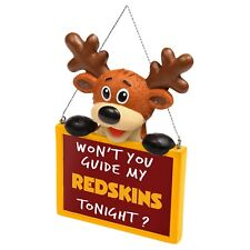 Washington Redskins Reindeer with Sign Resin Holiday Christmas Tree Ornament New