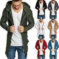 Mens Zip Up Hoodie Sweater Jumper Slim Coat Casual Cardigan Long Jackets Outwear