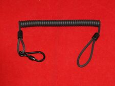 KALESTEAD LANYARD, KEVLAR,PUR SHEATHED,BLACK COILED LEAD + SCREW CLIP, MILITARY