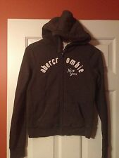 Abercrombie Kids Hooded Long Sleeve Gray Sweat Jacket Size XL