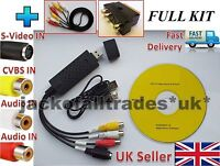 USB 2.0 to 3 RCA Audio S-Video TV VHS DVD+ RW Capture Converter *Adapter Cable*