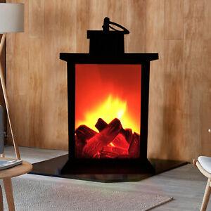 Battery Powered LED Fireplace Lantern Decorative Tabletop Lamp Room Lights