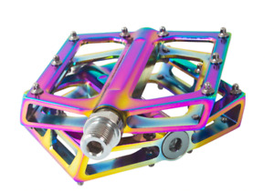 "Anodized ano oil slick platform pedals, flat, BMX mountain bike 9/16"" oilslick"