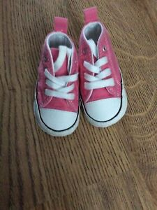Baby Girl's CONVERSE Pink First Canvas Shoes EU 17 UK 1 Infant