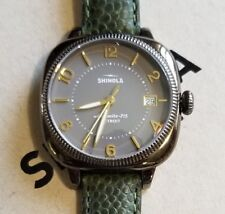Shinola Gomelsky Watch With 36mm Warm Grey Face & Dark Green Leather Band