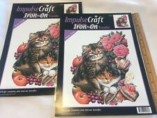 "Lot 2 Impulse Fabric Craft Iron-On Transfer Kitten Cat 8"" X 9"" New Pink Roses"