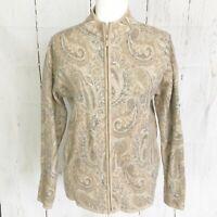 Pendleton Paisley 100% Wool Zip Up Sweater. Size M.