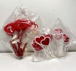 60 Vintage Valentine Heart Cake Topper Picks Mid Century 50's/60's Japan Beads