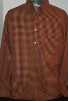 Bugatchi Uomo Men's (L) L/S Red Rust Color Checked Casual Shirt