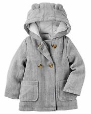 Carters Baby Girl Peacoat Coat Hooded Fashon Girl Gray Size 18m