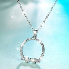 18K WHITE GOLD MADE WITH SWAROVSKI CZ CIRCLE ROUND PENDANT NECKLACE