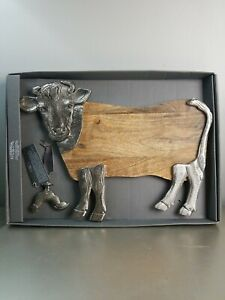 Godinger Gatherings Galvanized Handcrafted Cow Server w Rooster cheese knife