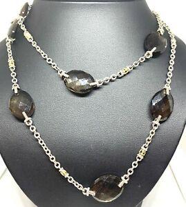 "Judith Ripka 34"" Smoky Quartz Diamond 18K Gold Sterling Silver Necklace"