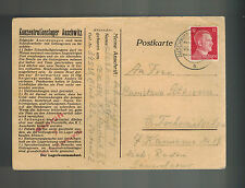 1942 Germany Auschwitz Concentration Camp Cover postcard to Radom G Lotkiewicz