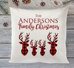 Personalised Christmas Cushion, Tartan stag family christmas scatter cushion