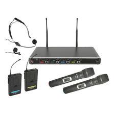 Chord NU4-C Quad UHF Wireless Microphone System Handheld Headset Karaoke Disco