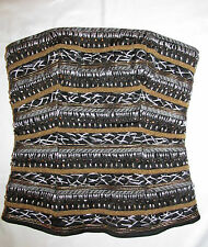 BEBE boned beaded silver gold thread embellished  corset bustier S worn once
