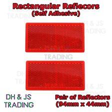 2x Self-Adhesive Red Rectangular / Oblong Trailer Reflectors Pair 94mm x 44mm