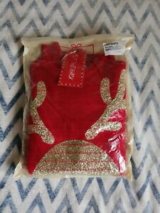 New Knitted Novelty Christmas Jumper With Reindeer Size M Ugly Jumper