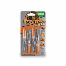 Gorilla Clear Glue Minis, 3 gram Tubes, Water Resistant, Clear (Pack of 4)