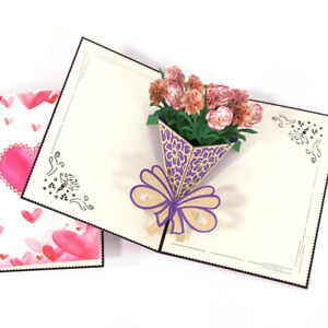 3D flowers greeting cards invitations carnations cards for mom teachers