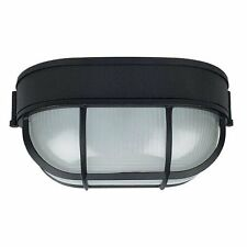 Sunset Black Oval Bulkhead Outdoor Security Light Frosted Prismatic Glass