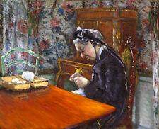 Mademoiselle Boissière Knitting by Gustave Caillebotte 42cmx32.5cm Canvas Print