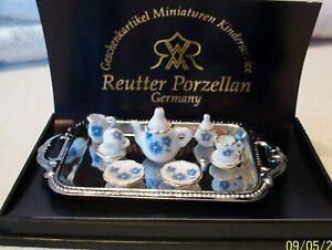 REUTTER PORZELLAN DOLLHOUSE MINIATURE TEA SET WITH SILVER TRAY  NEW MINT