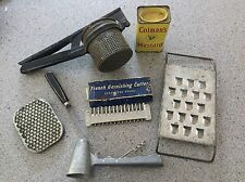 Lot Of Vintage Kitchen Tools Utensils Grater Potato Ricer Coleman's Mustard Tin