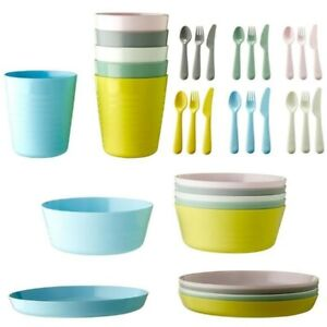 IKEA Kalas Children's Dishes, Set Of 6 Plates, Cups, Bowls and 18-piece Flatware