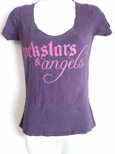 Rockstars & Angels purple tee t shirt top pink angel wing size small made in usa