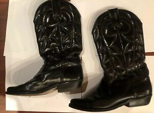 VINTAGE BLACK LEATHER COWBOY BOOTS SIZE US 7.5 EU 38 womens