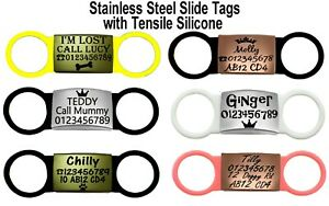 SLIDE ON COLLAR SILICONE ENGRAVED RECTANGLE ID NAME PERSONALISED PET DOG CAT TAG
