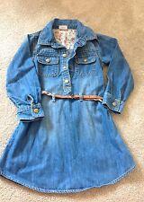 Girls Next Denim Long Sleeve Dress 4-5 Years Stone Wash And Belt