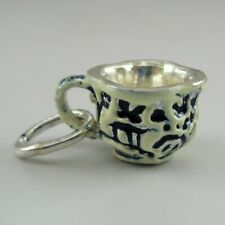Sterling Silver TEACUP Charm for Bracelet BLUE WILLOW Miniature PENDANT Vintage