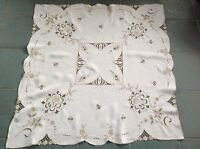 "Vintage Hand Embroidered "" ROSES "" Natural Linen Tablecloth 42x44 Inches"