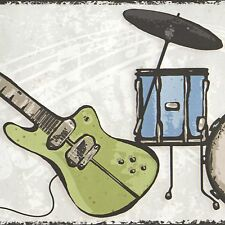 Rock Guitars, Amps & Drums -  45 feet ONLY $25 - Wallpaper Border 583