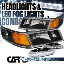 98-02 Mercury Grand Marquis Black Headlights+Corner Lamps+6-LED DRL Fog Lamps