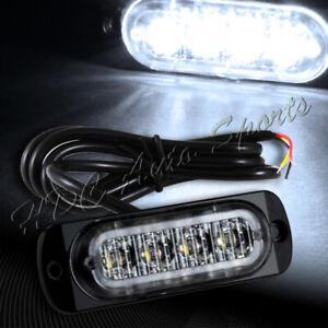 4 LED White Car Truck Emergency Beacon Warn Hazard Flash Strobe Light Universal