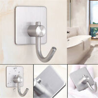 Stainless Steel Self Adhesive Clothes Bag Hooks Bathroom Kitchen Towel RackDATA