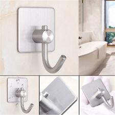 Stainless Steel Self Adhesive Clothes Bag Hooks Bathroom Kitchen Towel Rack ^