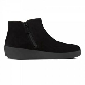 FitFlop SUMI Ladies Womens Autumn Winter Cushioned Suede Ankle Boots Black